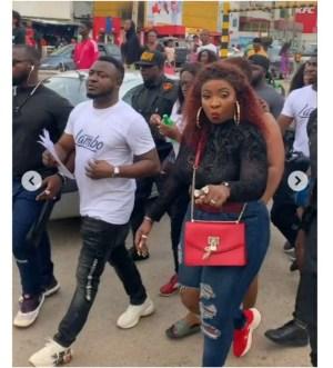 BBNaija: Anita Joseph and MC Galaxy storm the streets of Ikeja to campaign for Mercy